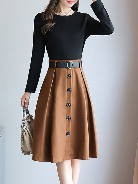 Swing Women Cotton Elegant Long Sleeve Paneled Solid Elegant Dress