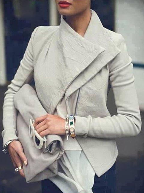 Casual Long Sleeve Solid Shawl Collar Zipper Pockets Jacket