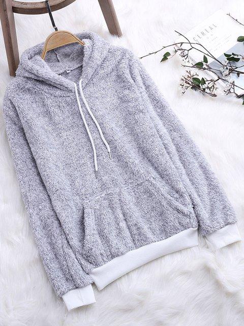 Pockets Cotton Casual Long Sleeve Hoodie Winter Hoody