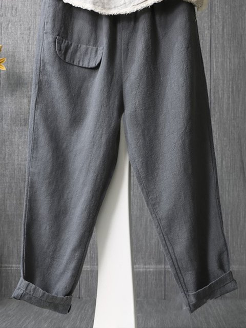 Casual Cotton Pockets Plus Size Pants