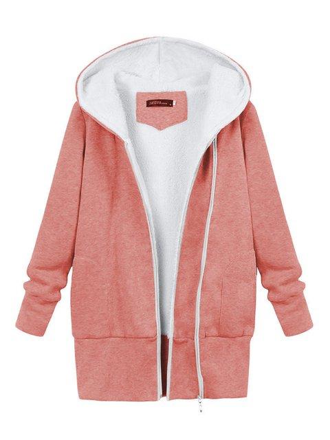 Casual Zipper Long Sleeve Hoodie Plus Size Winter Hoody