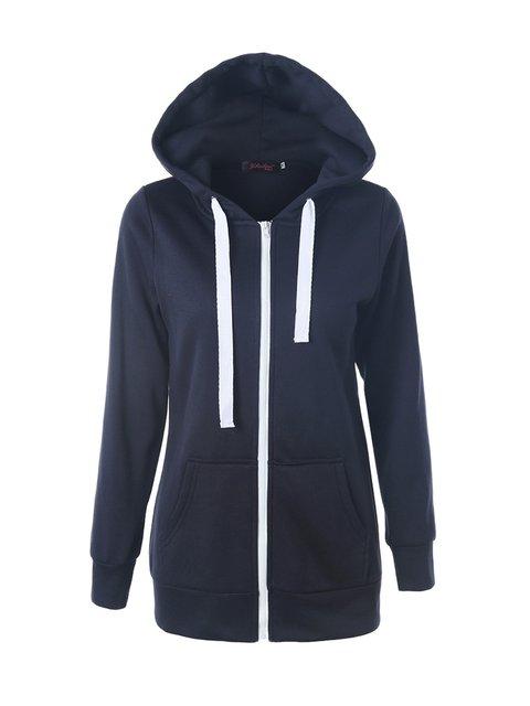 Casual Hoodie Long Sleeve Zipper Winter Solid Hoody
