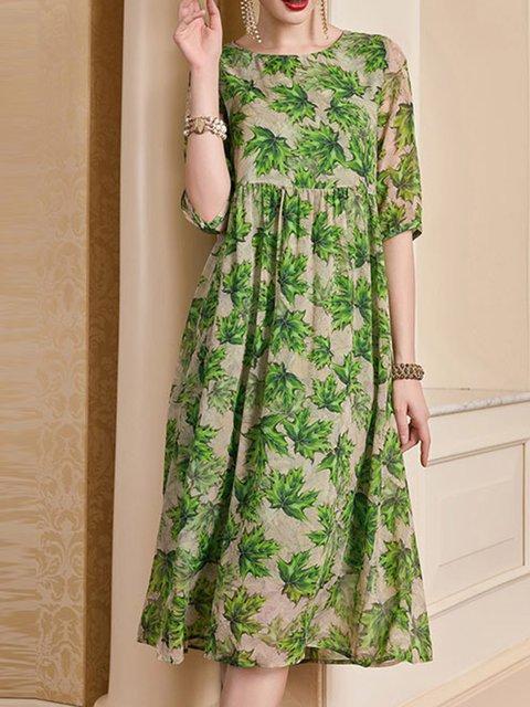 Green A-line Women Silk Half Sleeve Elegant Paneled Floral Elegant Dress