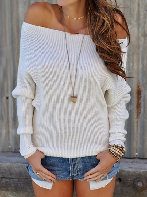 Paneled Casual Off Shoulder Long Sleeve Solid Knitted Sweater