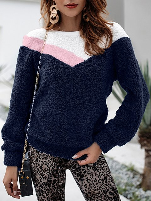 Solid Casual Long Sleeve Crew Neck Winter Teddy Bear Sweater