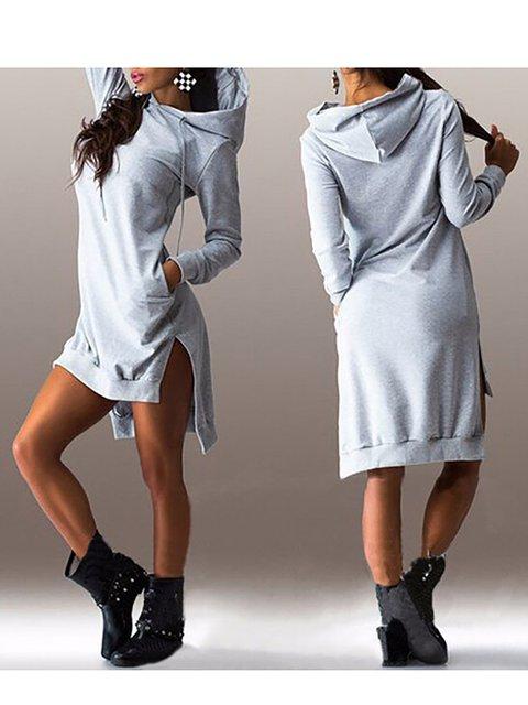 Womens Long Sleeves Slit Long Hoodies