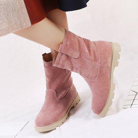 Womens Casual Chunky Heel Snow Boots