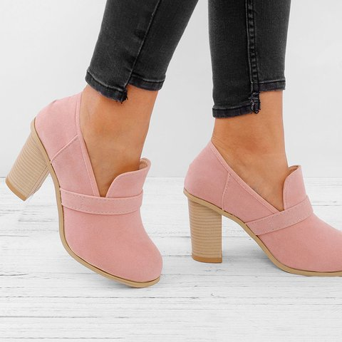 abbad49d841f Women Solid Thick Heel Elegant High Heel Cute Work Slip-On Boots ...