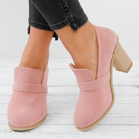 Women Solid Thick Heel Elegant High Heel Cute Work Slip-On Boots