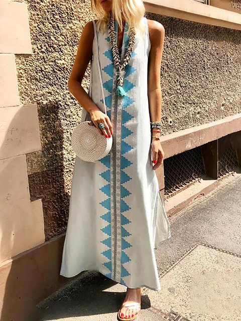V neck White Shift Women Daytime Casual Sleeveless Slit Geometric Summer Dress