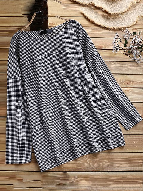 A-line Women Going out Long Sleeve Cotton Elegant Paneled Checkered/Plaid Casual Dress