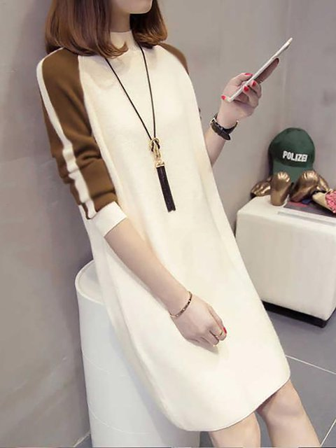 Shift Women Going out Long Sleeve Elegant Solid Casual Dress