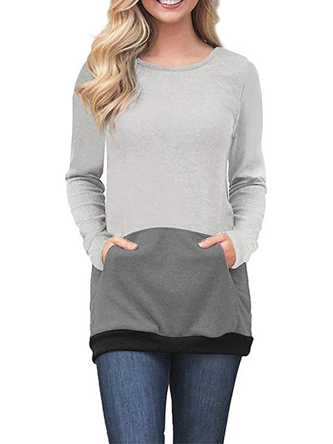 Casual Long Sleeve Cotton Solid Pockets Crew Neck T-Shirt