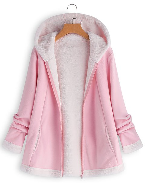 Womens Casual Hooded Zipper Pocket Long Sleeve Fleece Coats