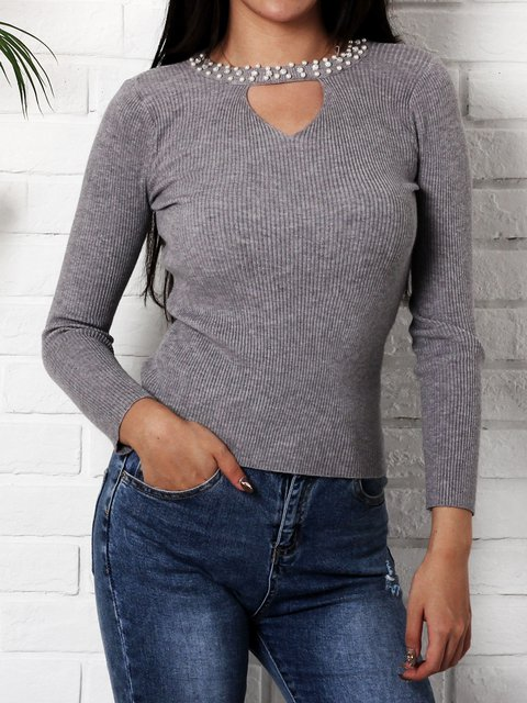Solid Crew Neck Casual Acrylic Winter Knitted Sweater