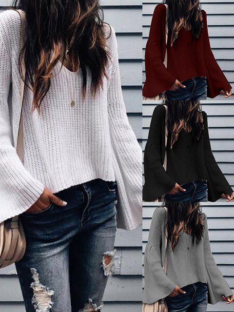 Casual V neck Bell Sleeve Solid Winter Sweater