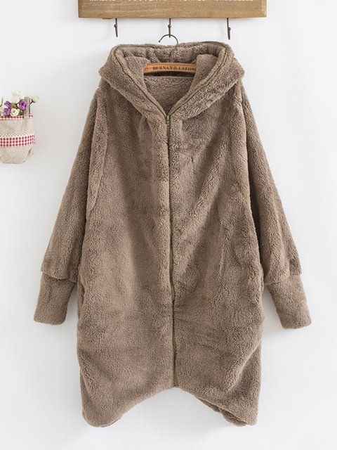 Batwing Solid Casual Hoodie Winter Plus Size Teddy Bear Coat