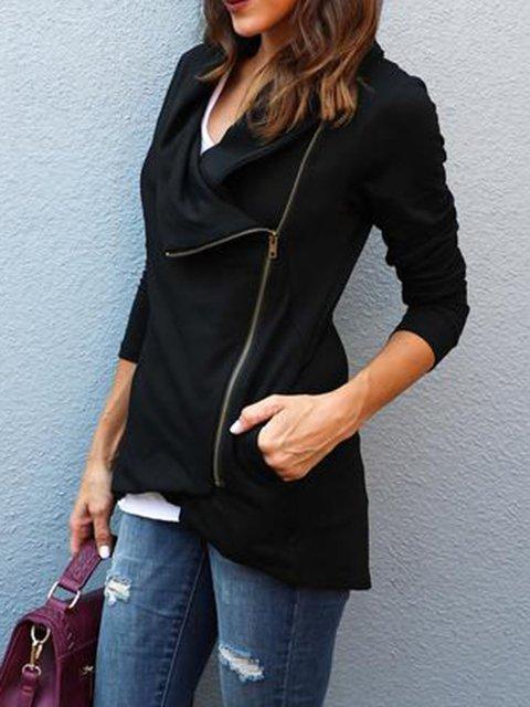 Casual Long Sleeve Shawl Collar Solid Zipper Jacket
