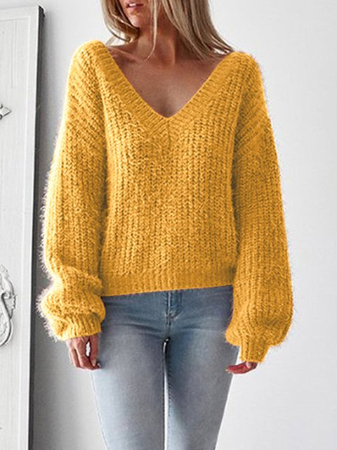Balloon Sleeve Casual Knitted Solid V neck Backless Winter Sweater