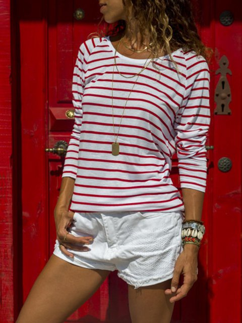 Casual Crew Neck Long Sleeve Printed Striped T-Shirt