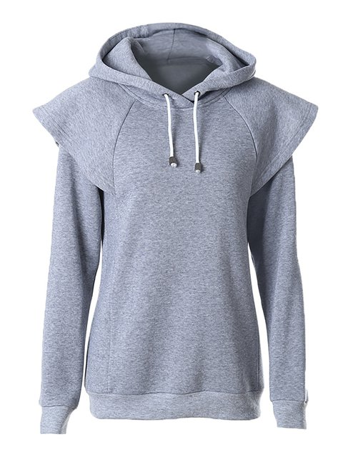 Shoulder Sleeve Drawstring Solid Color Hoodies