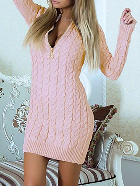 V neck  Bodycon Women Going out Long Sleeve Cotton Elegant Paneled Solid Spring Dress