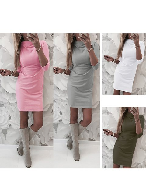 Shift Women Going out 3/4 Sleeve Elegant Paneled Solid Spring Dress