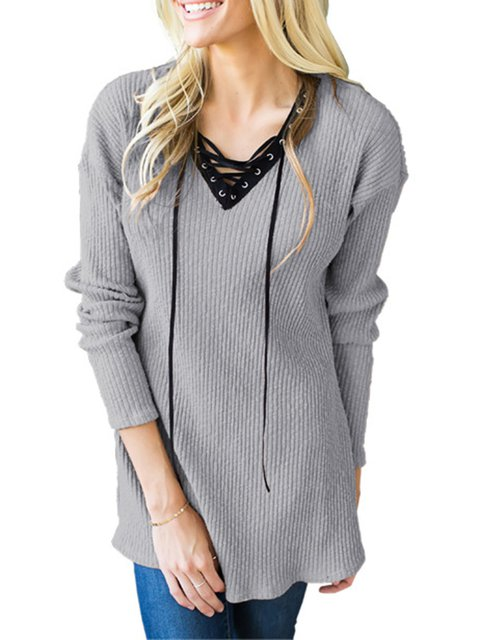 Lace up Casual Solid Long Sleeve V neck Knitted Sweater