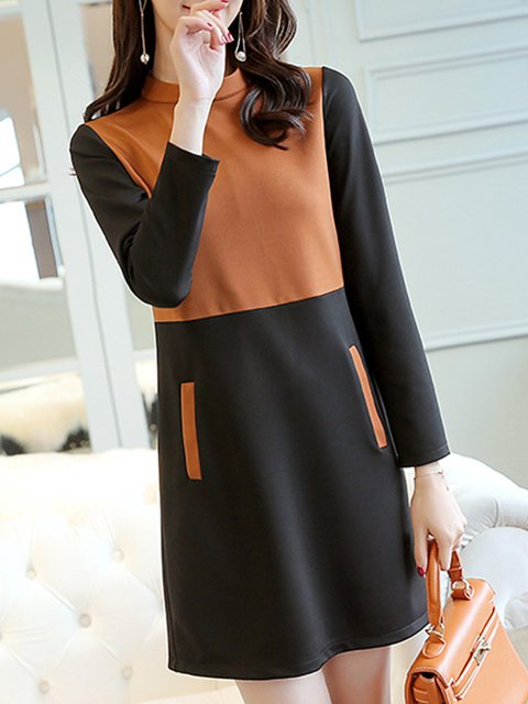 Stand Collar Black  Women Daytime Casual Long Sleeve Cotton Paneled Casual Dress