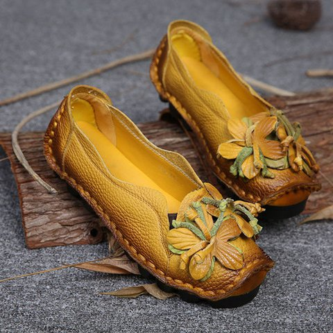 Yellow Flower Cowhide Women's Slip-On Flats