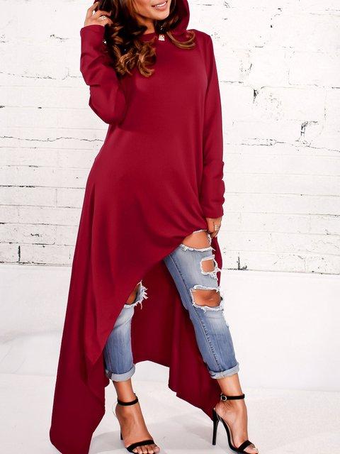 Long Sleeve Solid Asymmetric  Hoodie