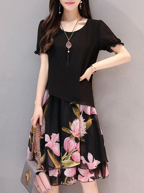 Women Going out Short Sleeve Paneled Floral Elegant Dress