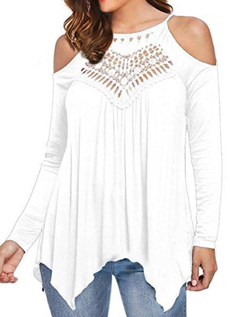 Shirt Plain Shoulder Sexy Cut out Sleeve Long Off T An6wqzU