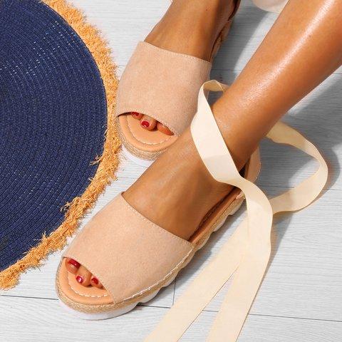 Plus Size Espadrilles Sandals Peep Toe Lace Up Summer ...