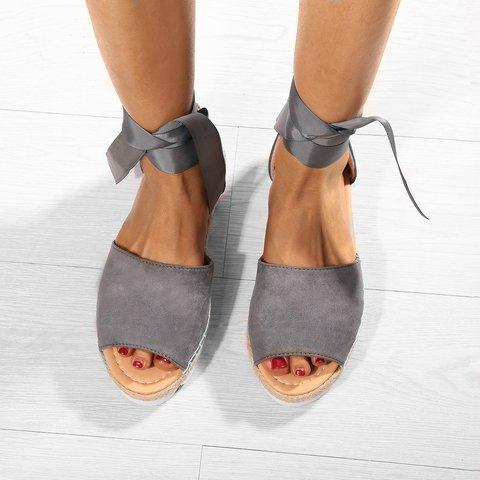 Plus Size Espadrilles Sandals Peep Toe Lace Up Summer