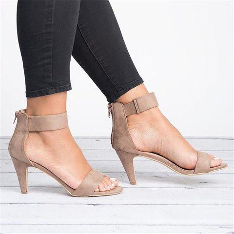 Women Nubuck Pumps Sandals Casual Ankle Strap Zipper Shoes
