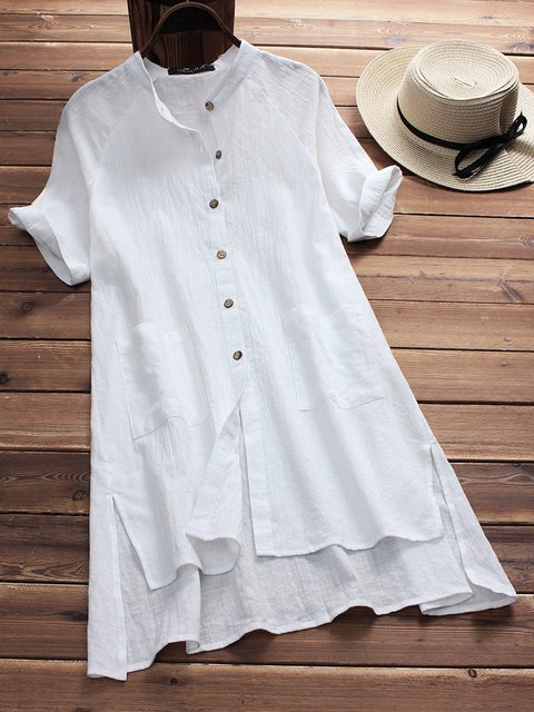 Stand Collar  High Low Women Short Sleeve Casual Slit Solid Casual Dress