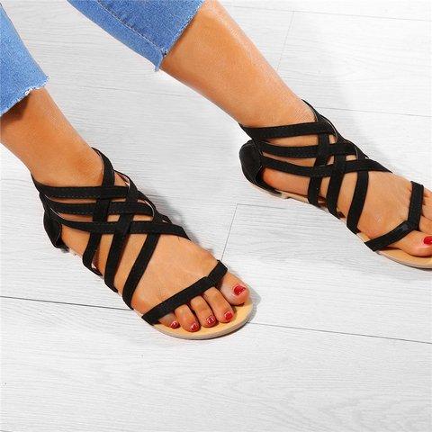 Women Flip Flops Plus Size Sandals Casual Flat Sandals with Zipper