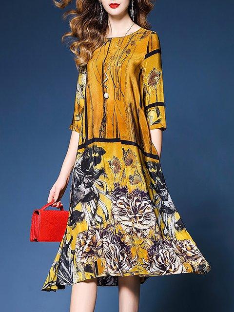 Dress Half Elegant Chiffon Asymmetric Sleeve Yellow Women Floral Shift Rzwnx74U