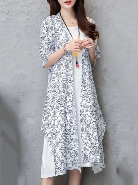 Two Piece Women Casual Pockets Floral Elegant Dress