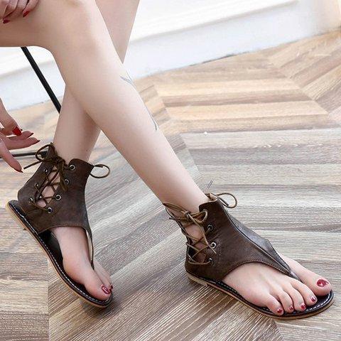 beb69dc28be7 Plus Size Lace-up PU Flip-flops Sandals with Zipper - JustFashionNow.com