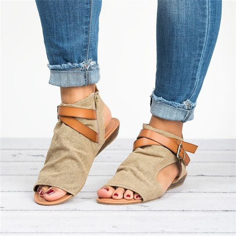 Denim Cloth Buckle Sandals