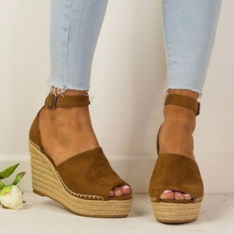 Women Espadrilles Wedges Peep Toe Ankle Strap Sandals
