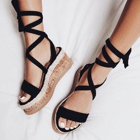 Plus Size Women Sandals Lace-up Wedge Sandals