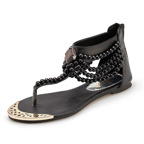 Rhinestone Faux Pearls Embellished Toe Post Sandals