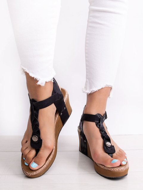 Women Large Size Adjustable Buckle Wedge Casual Sandals
