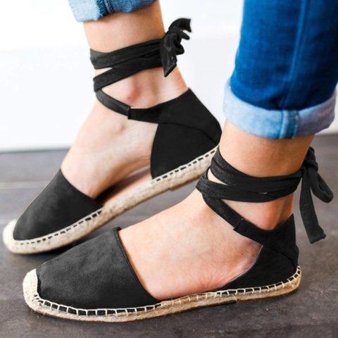 Plus Size Ankle Wrap Espadrille Flat Sandals