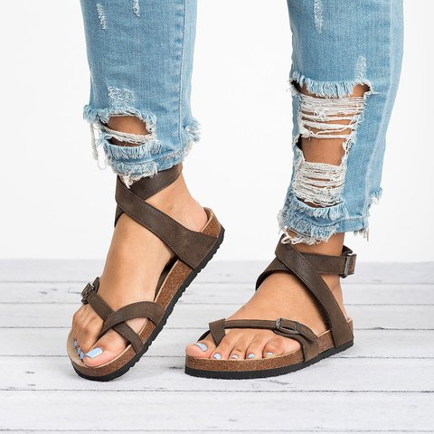 Plus Size Ankle Strap Buckle Flip Flop Gladiator Thong Flat Sandals