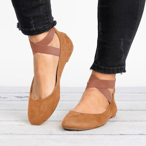 PU Elastic Band Low Heel Spring/Fall Driving Flat