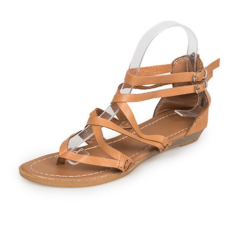 Women Plus Size PU Adjustable Buckle Wedge Sandals